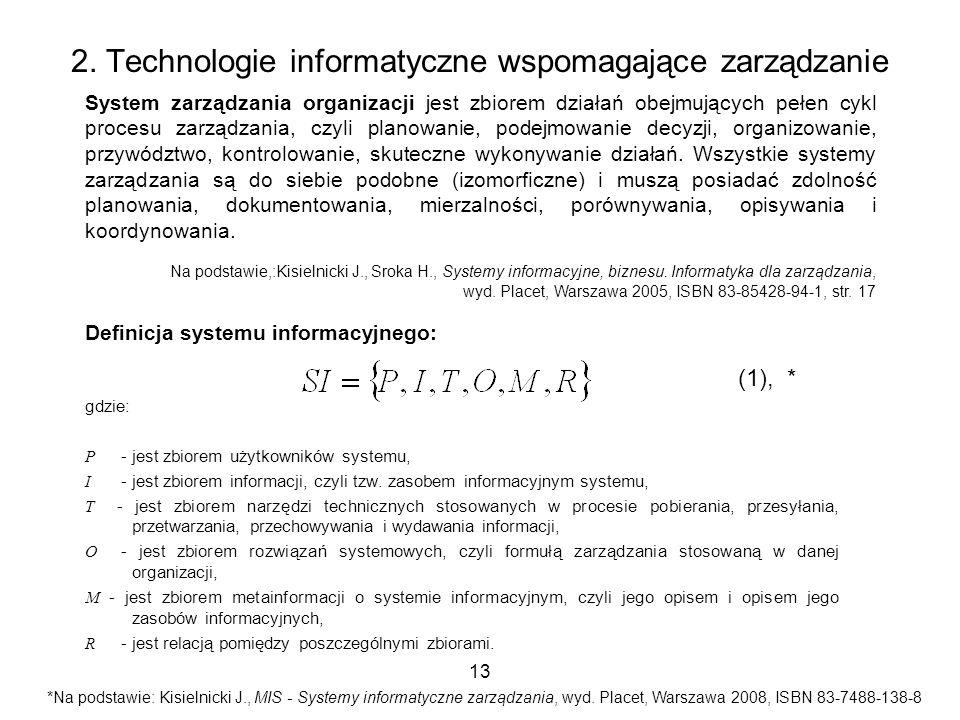 13 2. Technologie informatyczne wspomagające zarządzanie System zarządzania organizacji jest zbiorem działań obejmujących pełen cykl procesu zarządzan