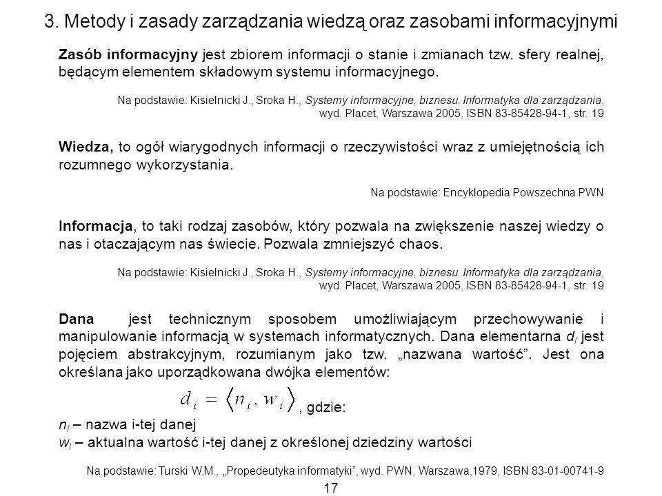 17 3. Metody i zasady zarządzania wiedzą oraz zasobami informacyjnymi Zasób informacyjny jest zbiorem informacji o stanie i zmianach tzw. sfery realne