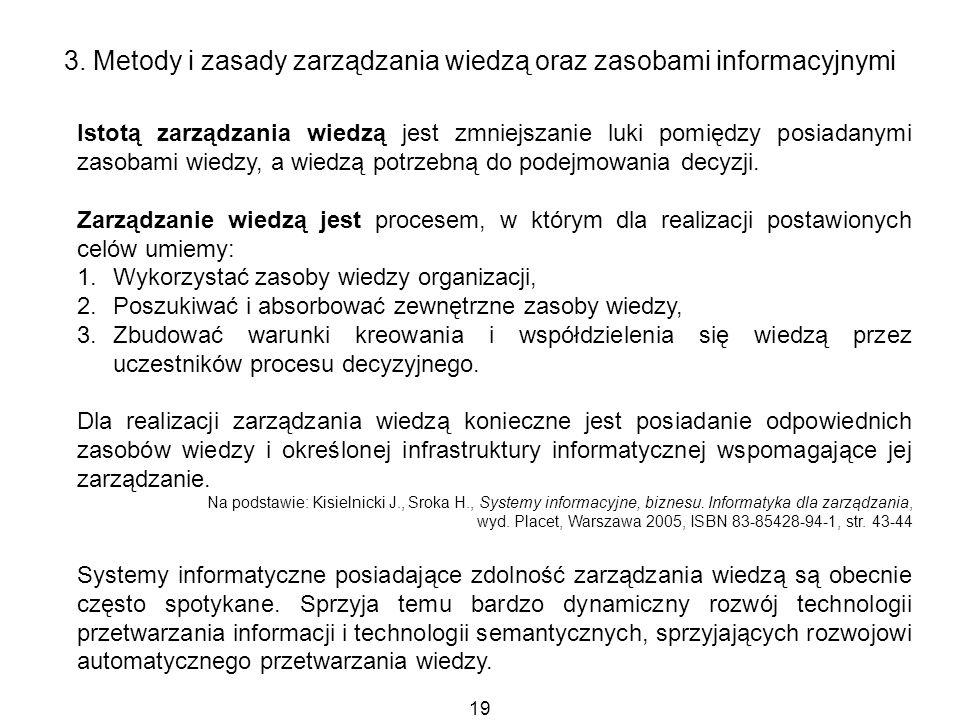 19 3. Metody i zasady zarządzania wiedzą oraz zasobami informacyjnymi Istotą zarządzania wiedzą jest zmniejszanie luki pomiędzy posiadanymi zasobami w