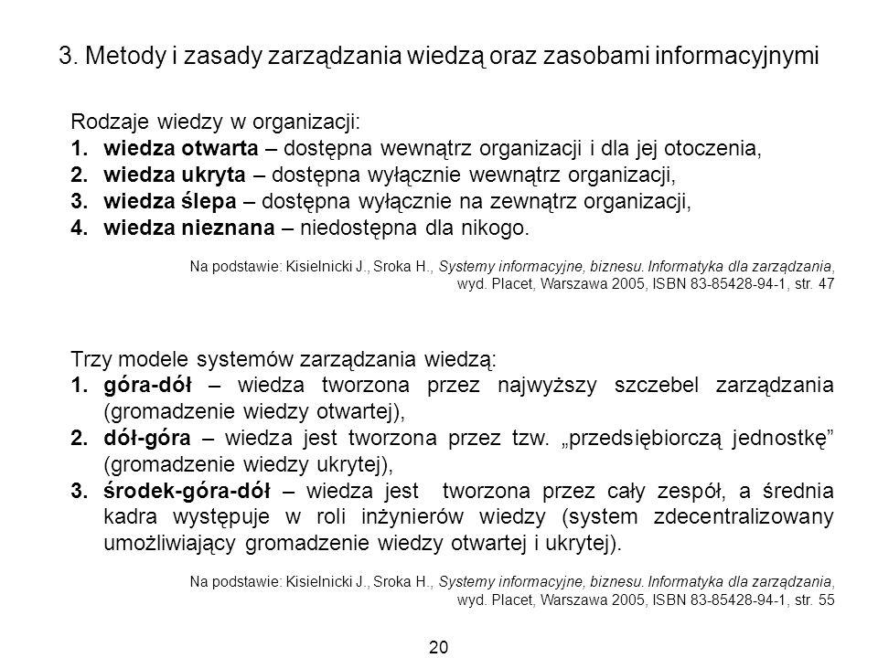 20 3. Metody i zasady zarządzania wiedzą oraz zasobami informacyjnymi Rodzaje wiedzy w organizacji: 1.wiedza otwarta – dostępna wewnątrz organizacji i