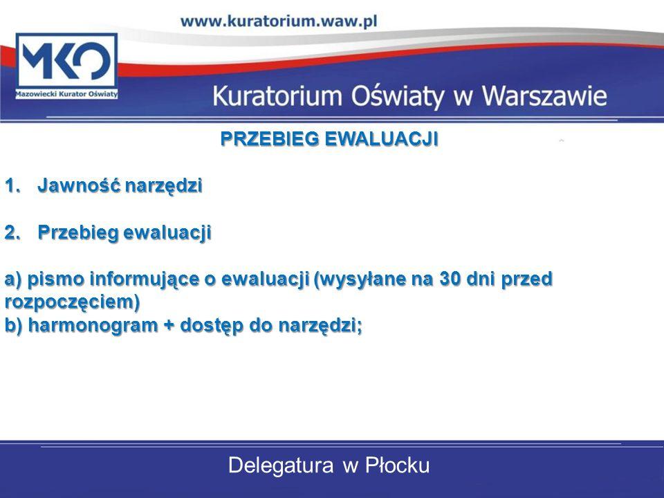 Delegatura w Płocku PRZEBIEG EWALUACJI 1.Jawność narzędzi 2.Przebieg ewaluacji a) pismo informujące o ewaluacji (wysyłane na 30 dni przed rozpoczęciem