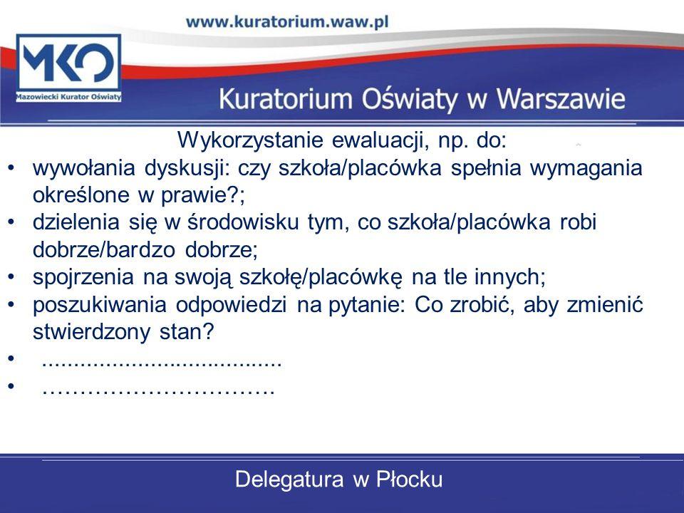 Delegatura w Płocku Wykorzystanie ewaluacji, np. do: wywołania dyskusji: czy szkoła/placówka spełnia wymagania określone w prawie?; dzielenia się w śr