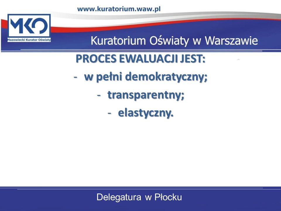 Delegatura w Płocku PROCES EWALUACJI JEST: -w pełni demokratyczny; -transparentny; -elastyczny.