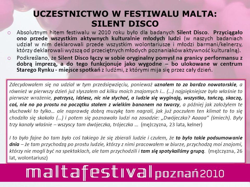 UCZESTNICTWO W FESTIWALU MALTA: SILENT DISCO o Absolutnym hitem festiwalu w 2010 roku było dla badanych Silent Disco. Przyciągało ono przede wszystkim
