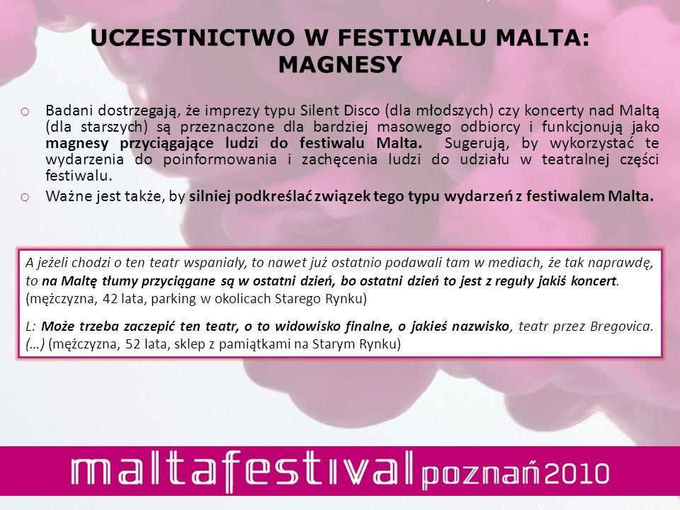 UCZESTNICTWO W FESTIWALU MALTA: MAGNESY o Badani dostrzegają, że imprezy typu Silent Disco (dla młodszych) czy koncerty nad Maltą (dla starszych) są p