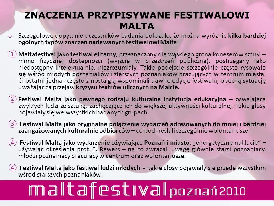o Szczegółowe dopytanie uczestników badania pokazało, że można wyróżnić kilka bardziej ogólnych typów znaczeń nadawanych festiwalowi Malta: Maltafesti