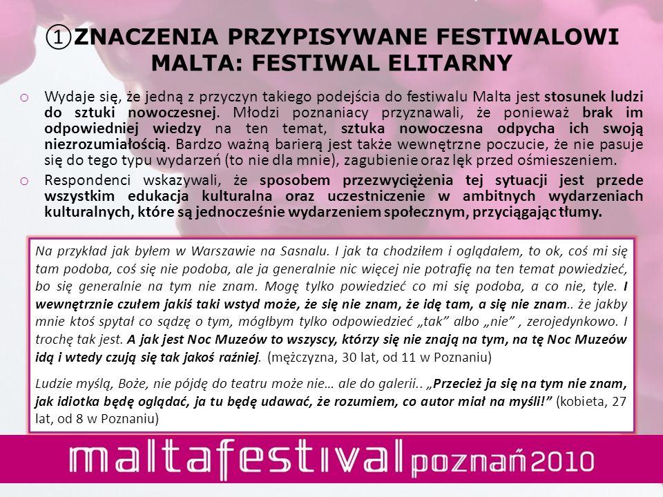 o Wydaje się, że jedną z przyczyn takiego podejścia do festiwalu Malta jest stosunek ludzi do sztuki nowoczesnej. Młodzi poznaniacy przyznawali, że po