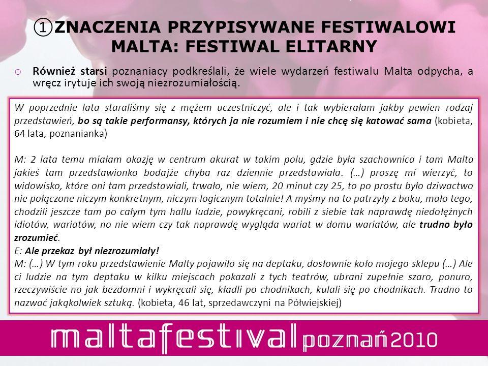 o Również starsi poznaniacy podkreślali, że wiele wydarzeń festiwalu Malta odpycha, a wręcz irytuje ich swoją niezrozumiałością. W poprzednie lata sta
