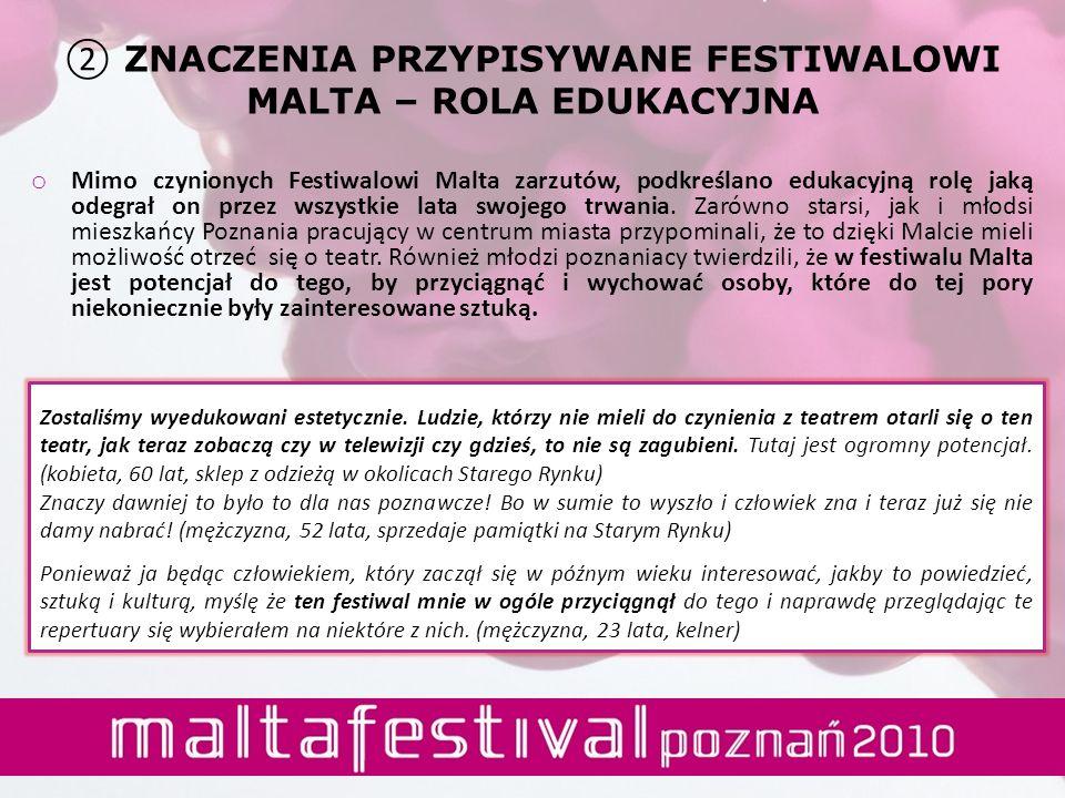 ZNACZENIA PRZYPISYWANE FESTIWALOWI MALTA – ROLA EDUKACYJNA o Mimo czynionych Festiwalowi Malta zarzutów, podkreślano edukacyjną rolę jaką odegrał on p