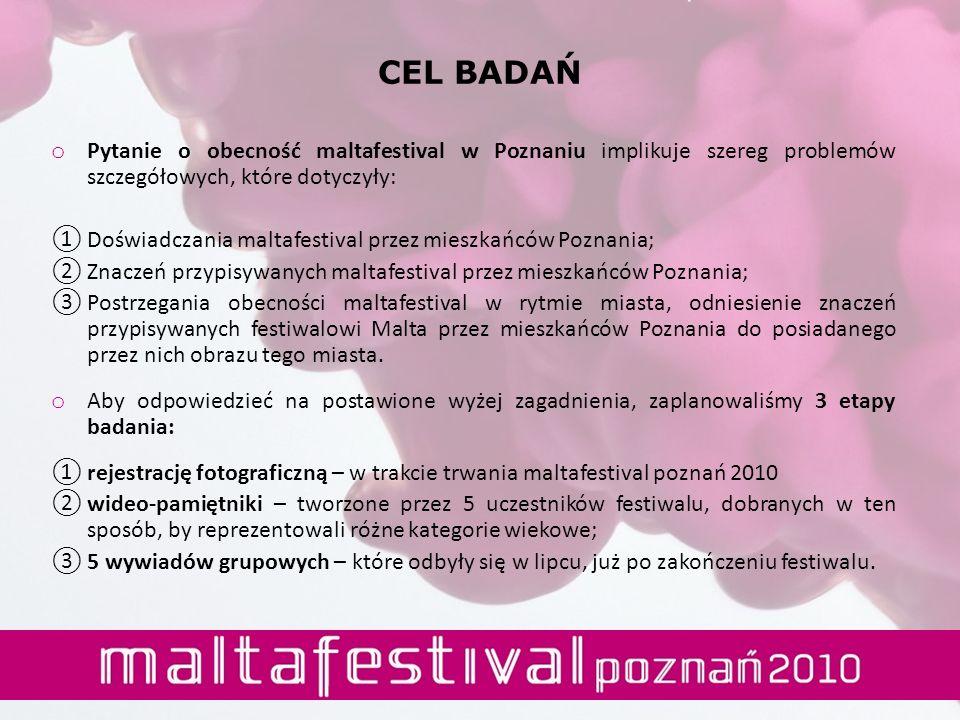 CEL BADAŃ o Pytanie o obecność maltafestival w Poznaniu implikuje szereg problemów szczegółowych, które dotyczyły: Doświadczania maltafestival przez m