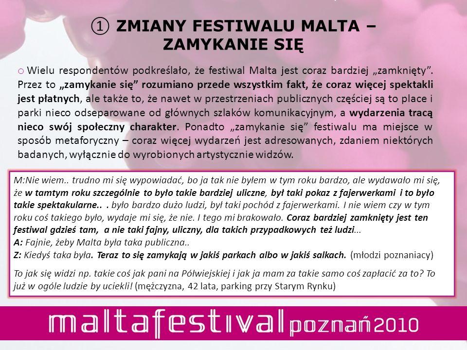 o Wielu respondentów podkreślało, że festiwal Malta jest coraz bardziej zamknięty. Przez to zamykanie się rozumiano przede wszystkim fakt, że coraz wi