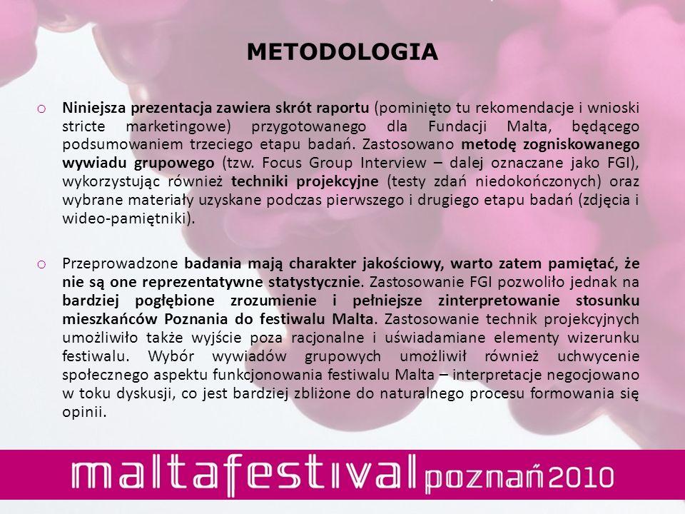 METODOLOGIA o Niniejsza prezentacja zawiera skrót raportu (pominięto tu rekomendacje i wnioski stricte marketingowe) przygotowanego dla Fundacji Malta