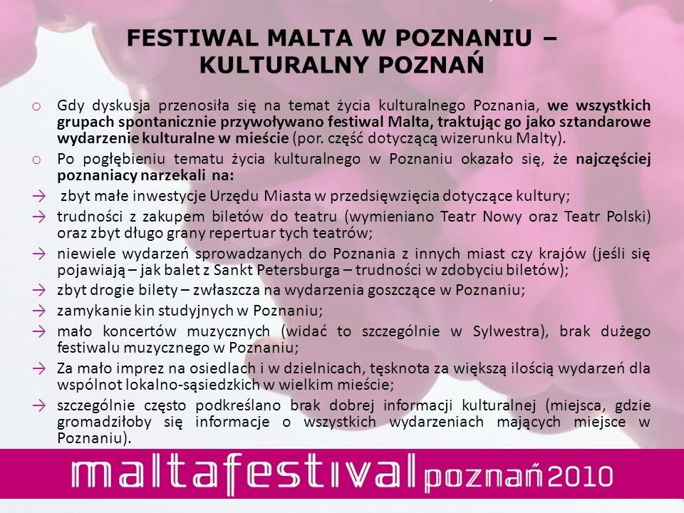 o Gdy dyskusja przenosiła się na temat życia kulturalnego Poznania, we wszystkich grupach spontanicznie przywoływano festiwal Malta, traktując go jako