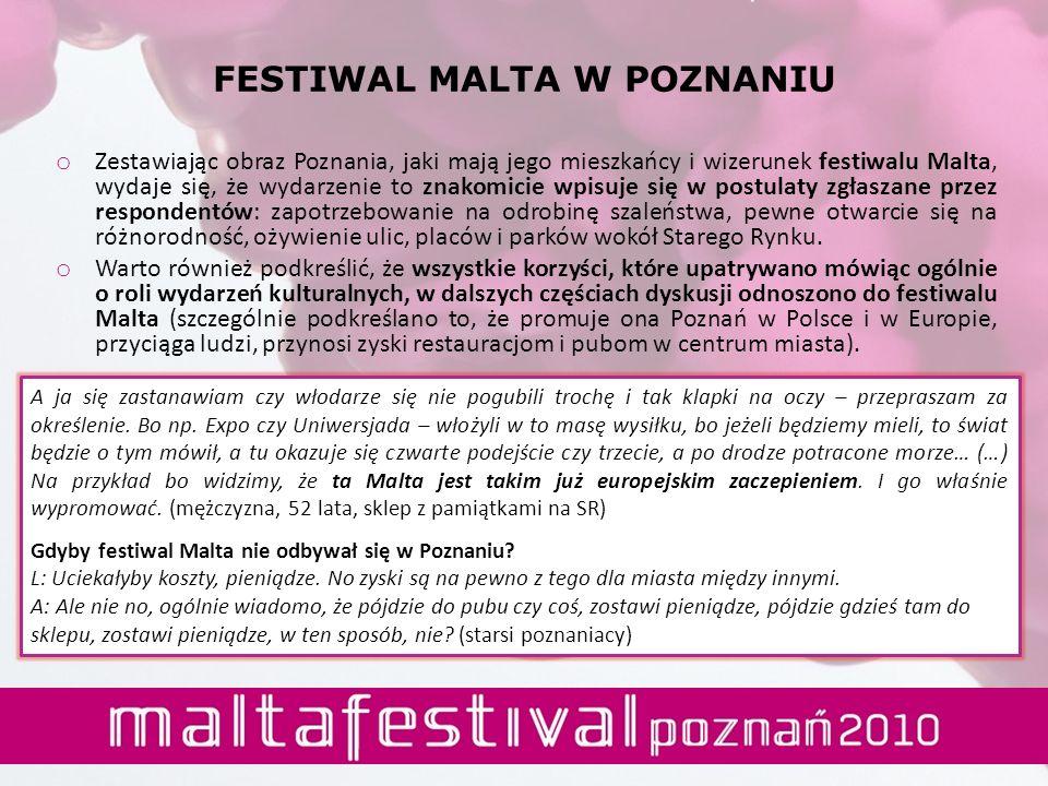 o Zestawiając obraz Poznania, jaki mają jego mieszkańcy i wizerunek festiwalu Malta, wydaje się, że wydarzenie to znakomicie wpisuje się w postulaty z