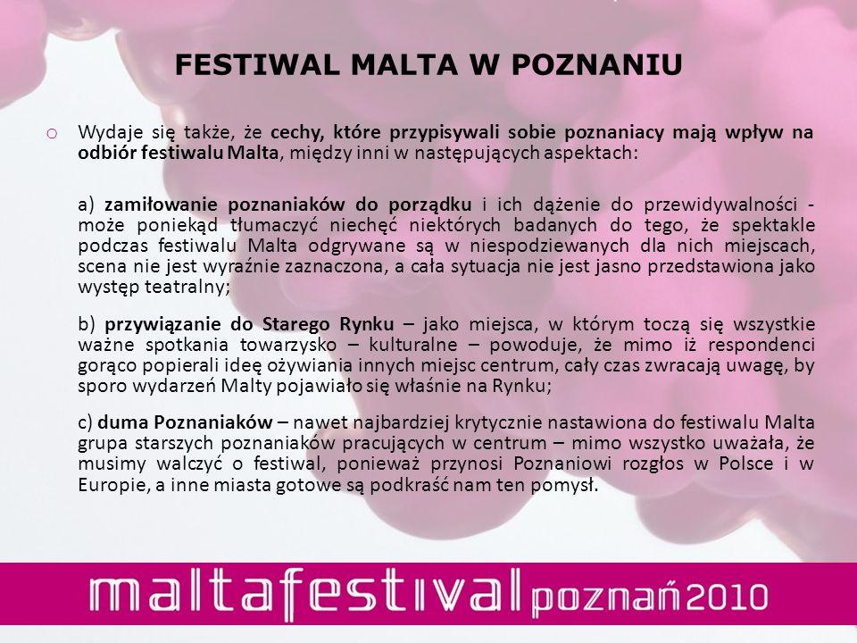 o Wydaje się także, że cechy, które przypisywali sobie poznaniacy mają wpływ na odbiór festiwalu Malta, między inni w następujących aspektach: a) zami