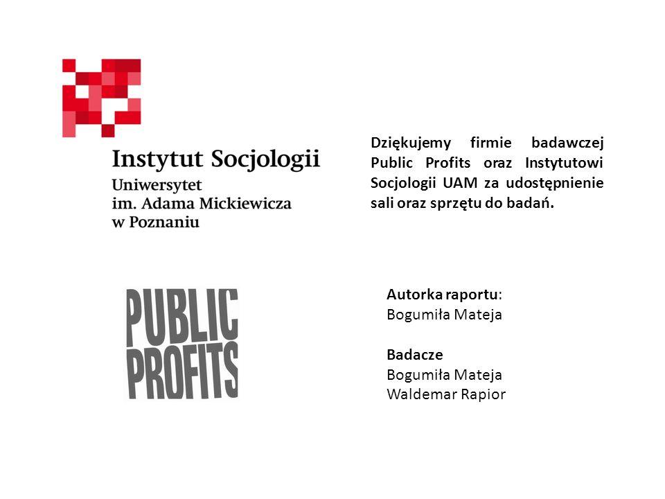Dziękujemy firmie badawczej Public Profits oraz Instytutowi Socjologii UAM za udostępnienie sali oraz sprzętu do badań. Autorka raportu: Bogumiła Mate