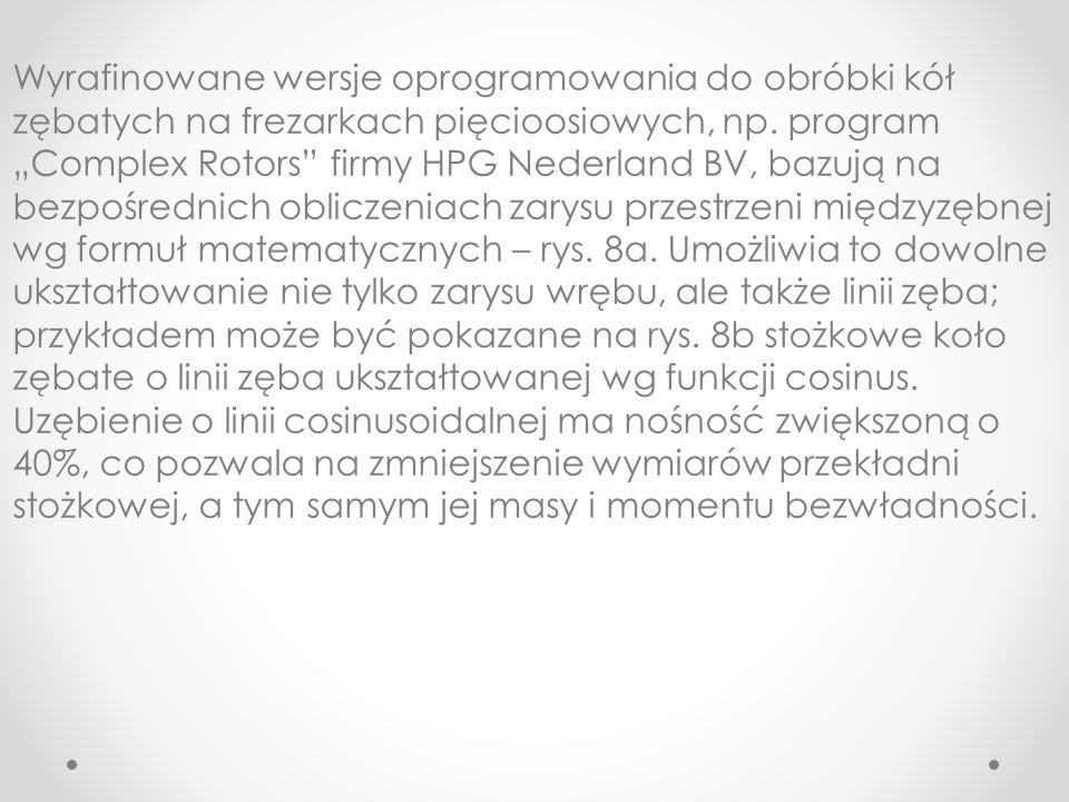 Wyrafinowane wersje oprogramowania do obróbki kół zębatych na frezarkach pięcioosiowych, np. program Complex Rotors firmy HPG Nederland BV, bazują na