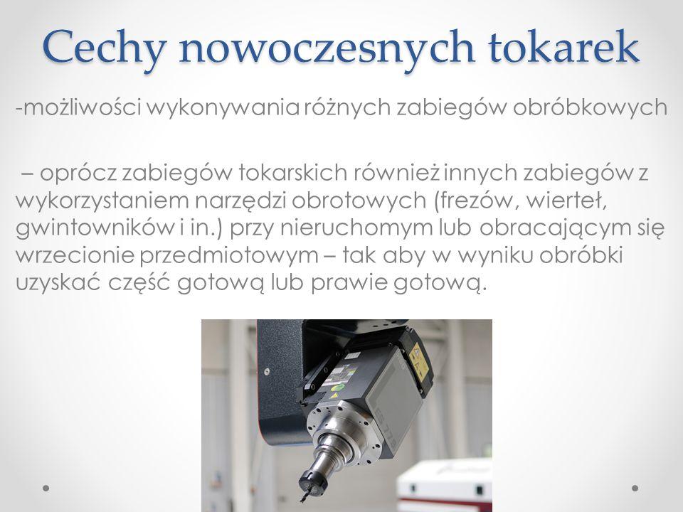 -możliwości wykonywania różnych zabiegów obróbkowych – oprócz zabiegów tokarskich również innych zabiegów z wykorzystaniem narzędzi obrotowych (frezów