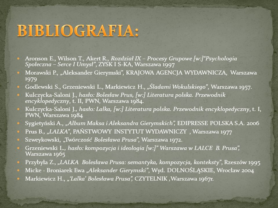 Aronson E., Wilson T., Akert R., Rozdział IX – Procesy Grupowe [w:]Psychologia Społeczna – Serce I Umysł, ZYSK I S-KA, Warszawa 1997 Morawski P., Alek