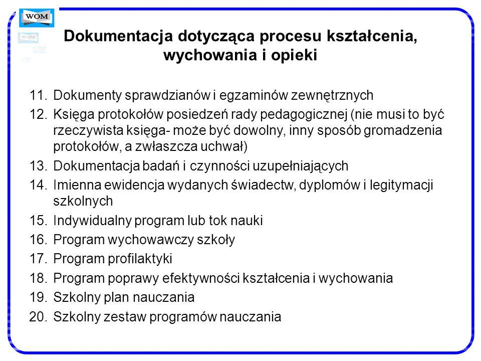 Dokumentacja dotycząca procesu kształcenia, wychowania i opieki 11.Dokumenty sprawdzianów i egzaminów zewnętrznych 12.Księga protokołów posiedzeń rady