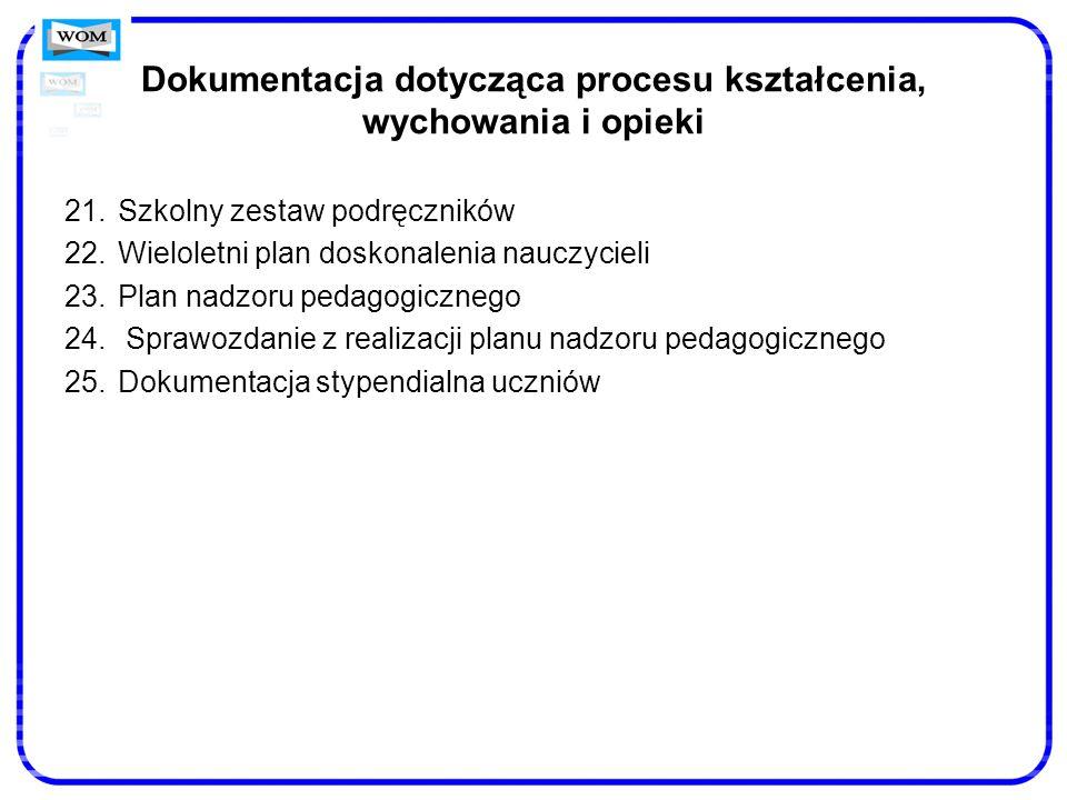 Dokumentacja dotycząca procesu kształcenia, wychowania i opieki 21.Szkolny zestaw podręczników 22.Wieloletni plan doskonalenia nauczycieli 23.Plan nad