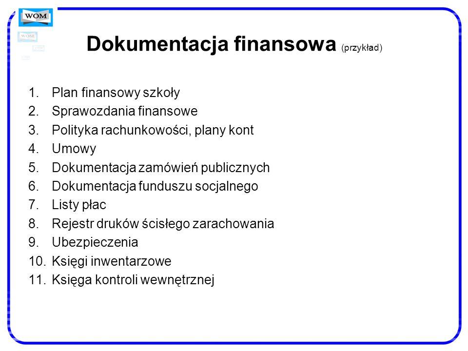 Dokumentacja finansowa (przykład) 1.Plan finansowy szkoły 2.Sprawozdania finansowe 3.Polityka rachunkowości, plany kont 4.Umowy 5.Dokumentacja zamówie