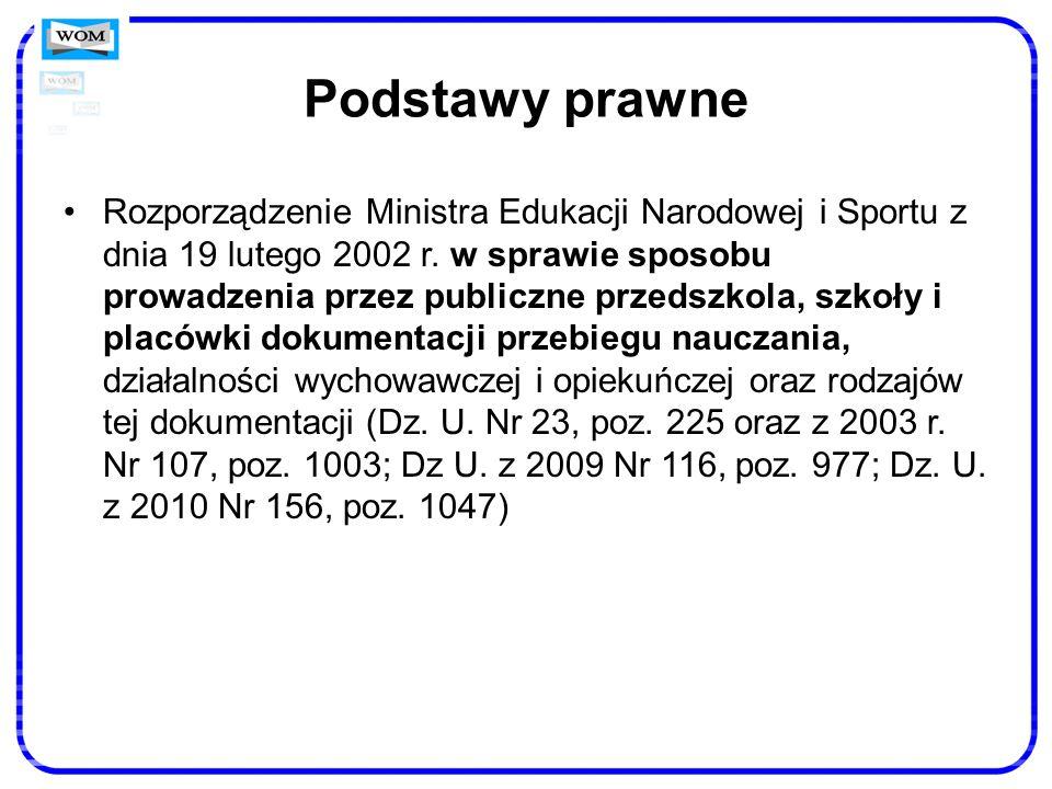 Podstawy prawne Rozporządzenie Ministra Edukacji Narodowej i Sportu z dnia 19 lutego 2002 r. w sprawie sposobu prowadzenia przez publiczne przedszkola