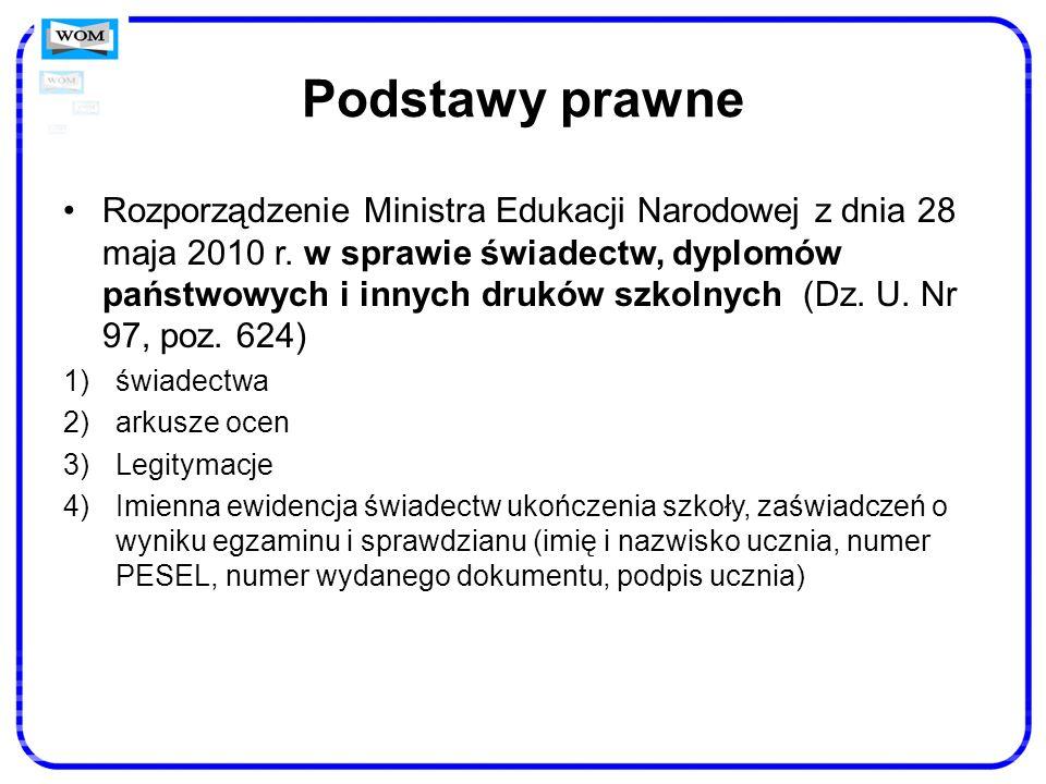 Podstawy prawne Rozporządzenie Ministra Edukacji Narodowej z dnia 28 maja 2010 r. w sprawie świadectw, dyplomów państwowych i innych druków szkolnych