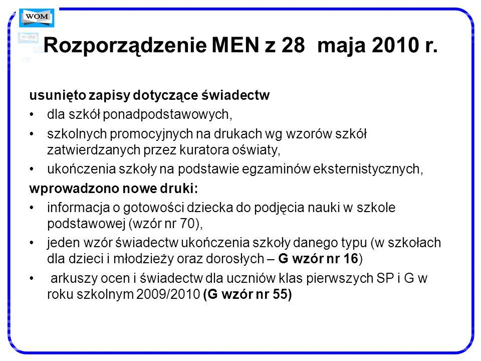 Rozporządzenie MEN z 28 maja 2010 r. usunięto zapisy dotyczące świadectw dla szkół ponadpodstawowych, szkolnych promocyjnych na drukach wg wzorów szkó