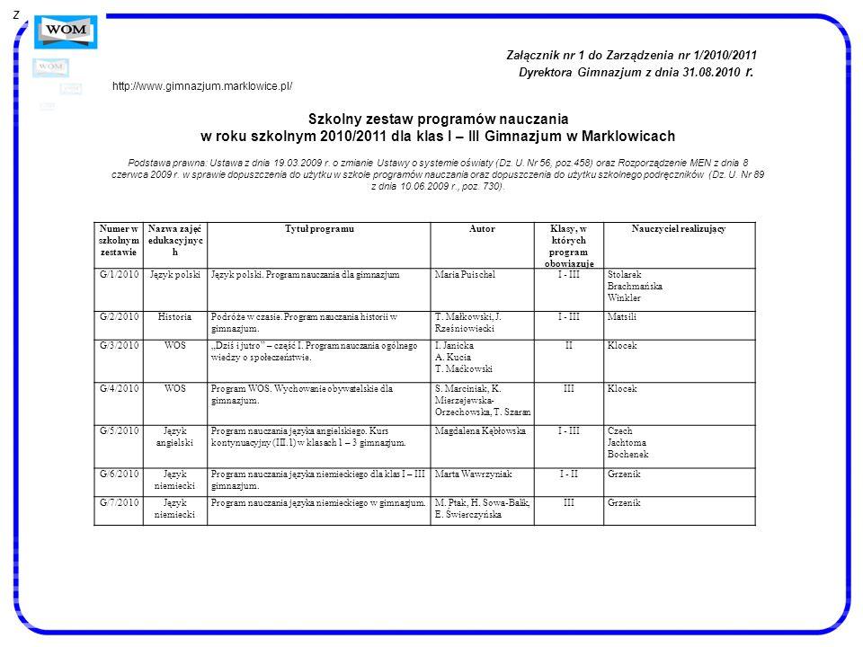 Numer w szkolnym zestawie Nazwa zajęć edukacyjnyc h Tytuł programuAutorKlasy, w których program obowiązuje Nauczyciel realizujący G/1/2010Język polski