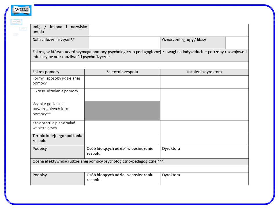 Imię / imiona i nazwisko ucznia Data założenia części B*Oznaczenie grupy / klasy Zakres, w którym uczeń wymaga pomocy psychologiczno-pedagogicznej z u