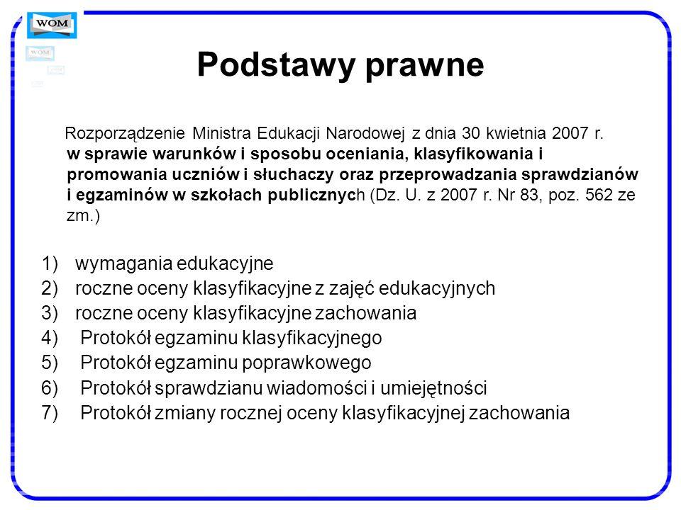Podstawy prawne Rozporządzenie Ministra Edukacji Narodowej z dnia 30 kwietnia 2007 r. w sprawie warunków i sposobu oceniania, klasyfikowania i promowa