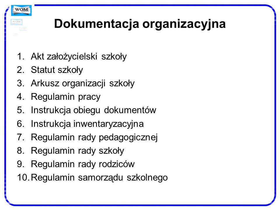 Dokumentacja organizacyjna 1.Akt założycielski szkoły 2.Statut szkoły 3.Arkusz organizacji szkoły 4.Regulamin pracy 5.Instrukcja obiegu dokumentów 6.I