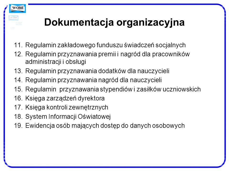 Dokumentacja organizacyjna 11.Regulamin zakładowego funduszu świadczeń socjalnych 12.Regulamin przyznawania premii i nagród dla pracowników administra