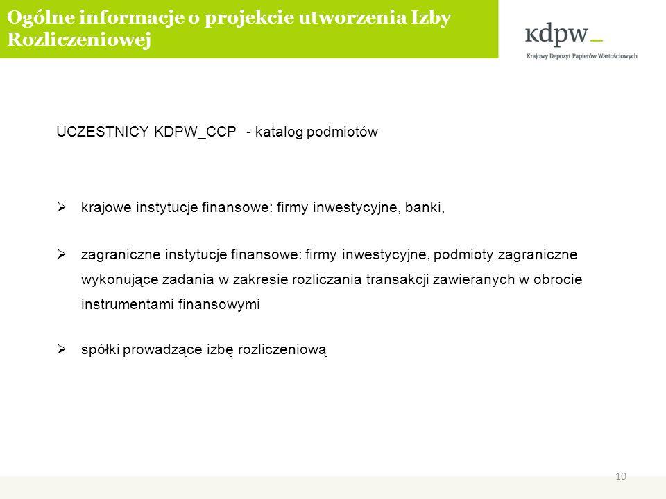 Ogólne informacje o projekcie utworzenia Izby Rozliczeniowej UCZESTNICY KDPW_CCP - katalog podmiotów krajowe instytucje finansowe: firmy inwestycyjne,