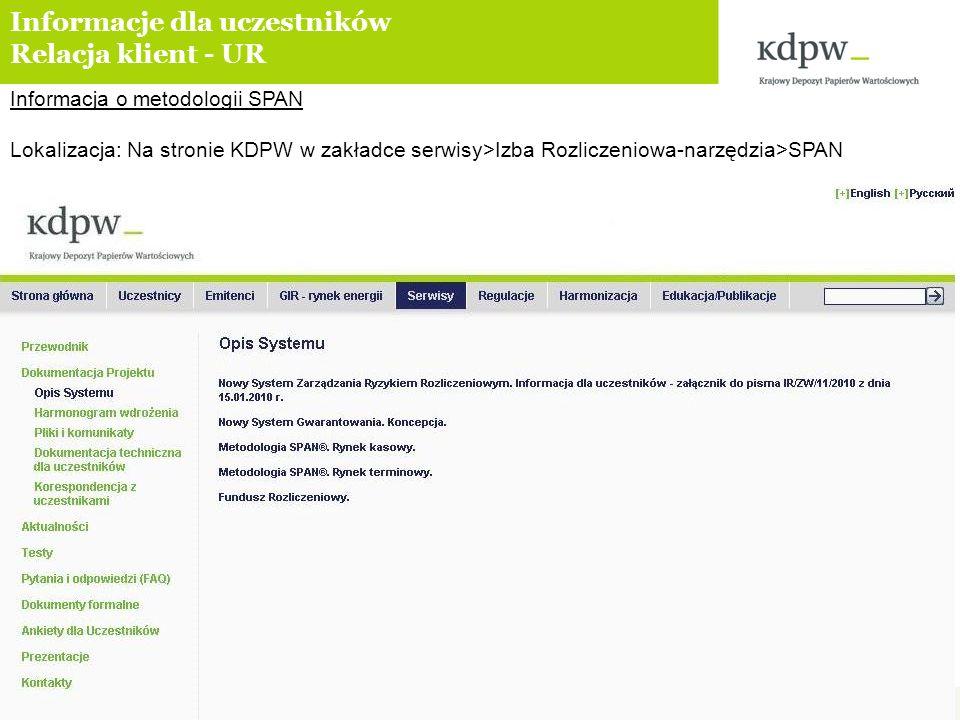 Informacja o metodologii SPAN Lokalizacja: Na stronie KDPW w zakładce serwisy>Izba Rozliczeniowa-narzędzia>SPAN Informacje dla uczestników Relacja kli