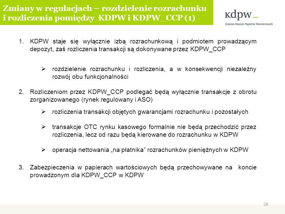 1.KDPW staje się wyłącznie izbą rozrachunkową i podmiotem prowadzącym depozyt, zaś rozliczenia transakcji są dokonywane przez KDPW_CCP rozdzielenie ro