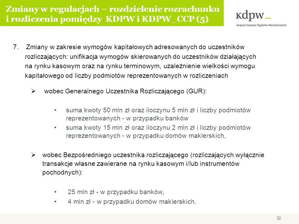 7. Zmiany w zakresie wymogów kapitałowych adresowanych do uczestników rozliczających: unifikacja wymogów skierowanych do uczestników działających na r