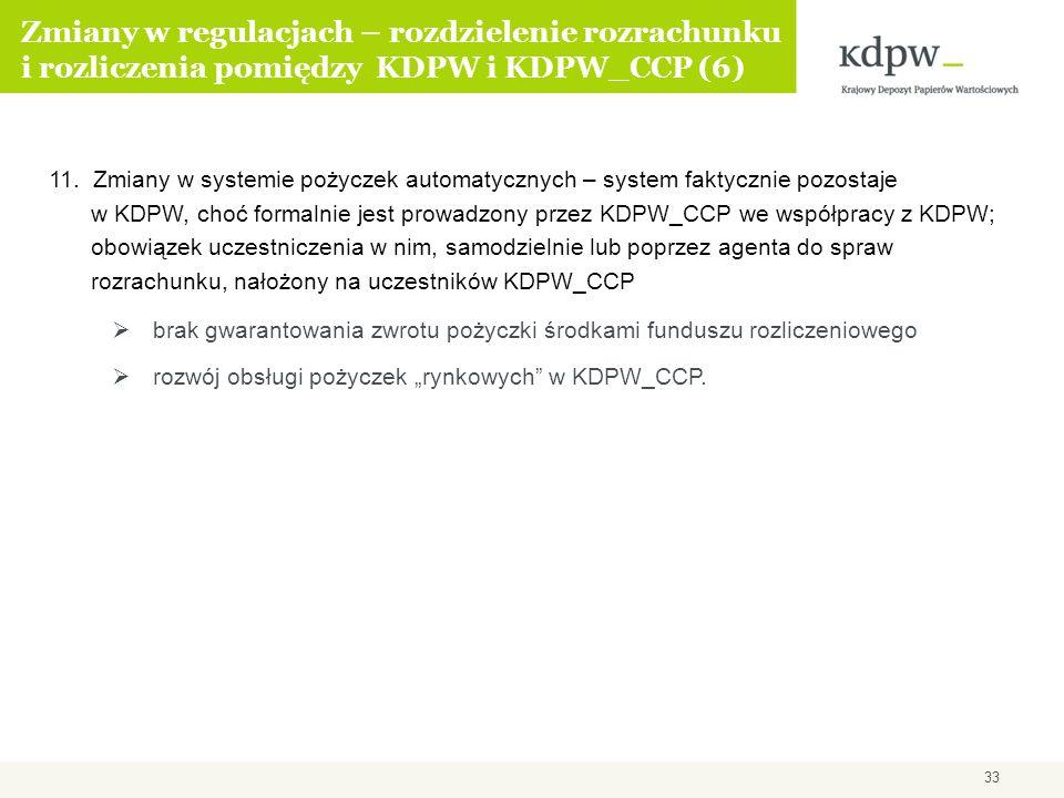 Zmiany w regulacjach – rozdzielenie rozrachunku i rozliczenia pomiędzy KDPW i KDPW_CCP (6) 11. Zmiany w systemie pożyczek automatycznych – system fakt