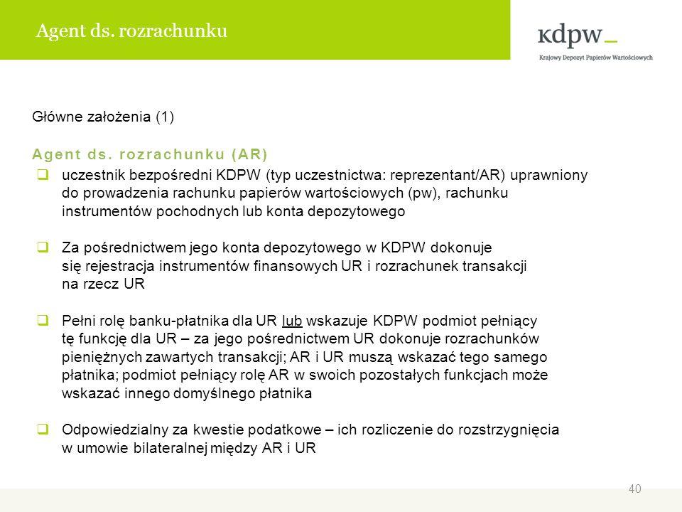 Agent ds. rozrachunku Główne założenia (1) Agent ds. rozrachunku (AR) uczestnik bezpośredni KDPW (typ uczestnictwa: reprezentant/AR) uprawniony do pro