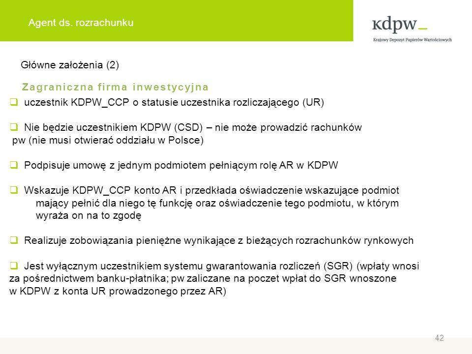 Agent ds. rozrachunku Główne założenia (2) Zagraniczna firma inwestycyjna uczestnik KDPW_CCP o statusie uczestnika rozliczającego (UR) Nie będzie ucze