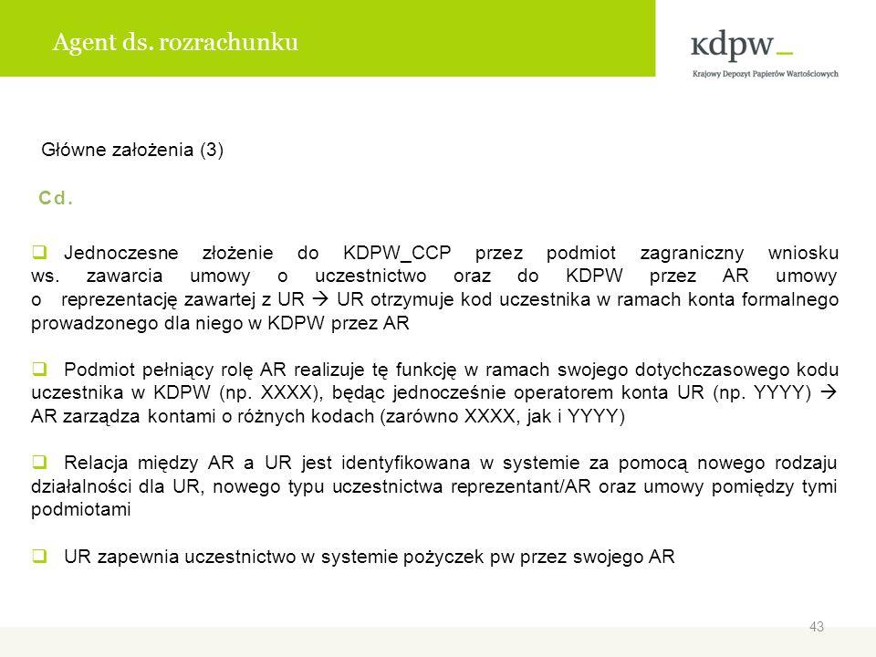 Agent ds. rozrachunku Główne założenia (3) Cd. Jednoczesne złożenie do KDPW_CCP przez podmiot zagraniczny wniosku ws. zawarcia umowy o uczestnictwo or