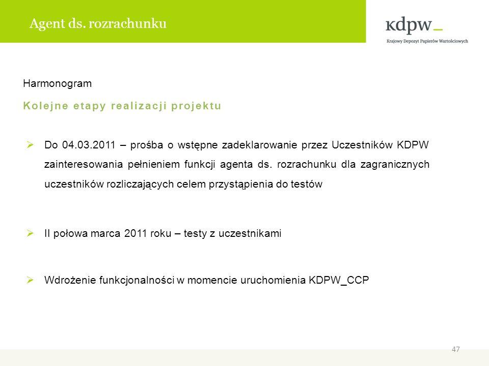 Agent ds. rozrachunku Harmonogram Kolejne etapy realizacji projektu Do 04.03.2011 – prośba o wstępne zadeklarowanie przez Uczestników KDPW zainteresow