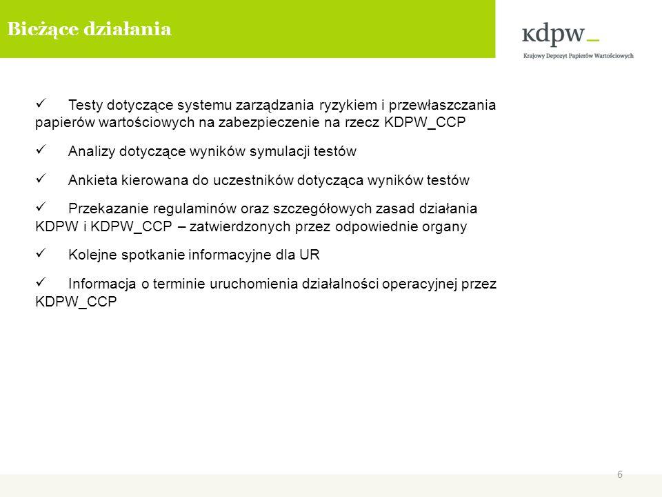 6 Bieżące działania Testy dotyczące systemu zarządzania ryzykiem i przewłaszczania papierów wartościowych na zabezpieczenie na rzecz KDPW_CCP Analizy