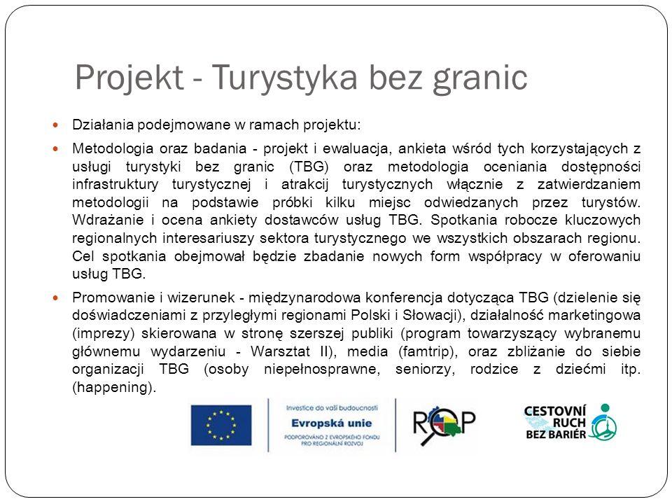 Projekt - We właściwym kierunku Numer rejestracji: CZ.1.10/2.2.00/07.00939 Ramy czasowe projektu: 2/2011 – 4/2012 Całkowity koszt projektu 9,9 milionów CZK Dofinansowanie: NUTS II Śląsk [Silesia] 9,2 mln CZK Treść projektu: Głównym celem jest osiągnięcie szerszej i bardziej kompleksowej oferty turystycznej w kraju morawsko-śląskim.