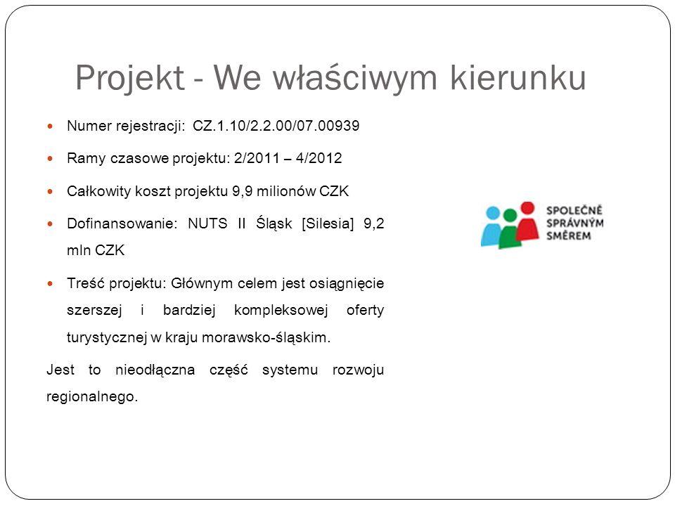 Projekt - We właściwym kierunku Działania podejmowane w ramach projektu: kontaktowanie się z dostawcami usług turystycznych, by stali się częścią bazy danych TourPoint zbieranie niezbędnych informacji oraz wdrażanie bazy danych TourPoint nabycie, instalacja technologii oraz tworzenie oprogramowania bazy danych TourPoint