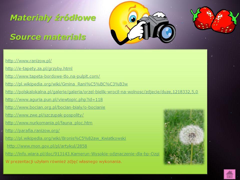 Materiały źródłowe Source materials http://www.ranizow.pl/ http://e-tapety.za.pl/grzyby.html http://www.tapeta-bordowe-tlo.na-pulpit.com/ http://pl.wi