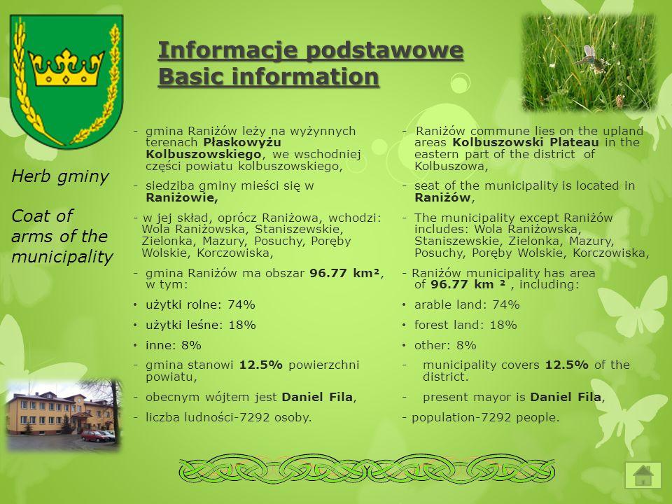 Informacje podstawowe Basic information -gmina Raniżów leży na wyżynnych terenach Płaskowyżu Kolbuszowskiego, we wschodniej części powiatu kolbuszowsk