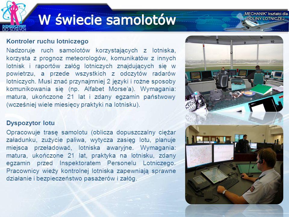 Kontroler ruchu lotniczego Nadzoruje ruch samolotów korzystających z lotniska, korzysta z prognoz meteorologów, komunikatów z innych lotnisk i raportó