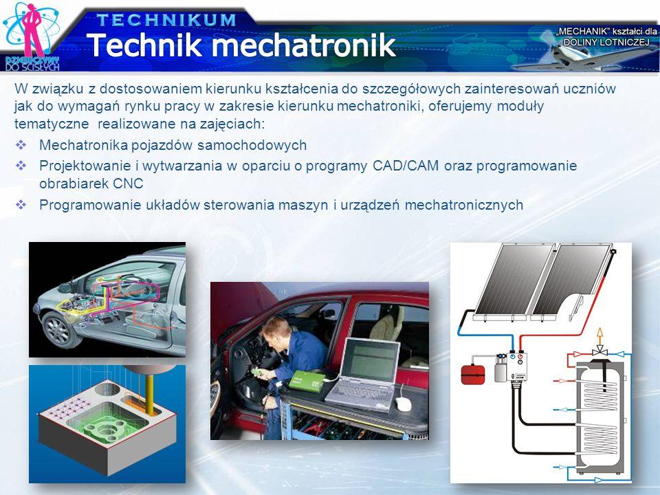 W związku z dostosowaniem kierunku kształcenia do szczegółowych zainteresowań uczniów jak do wymagań rynku pracy w zakresie kierunku mechatroniki, ofe